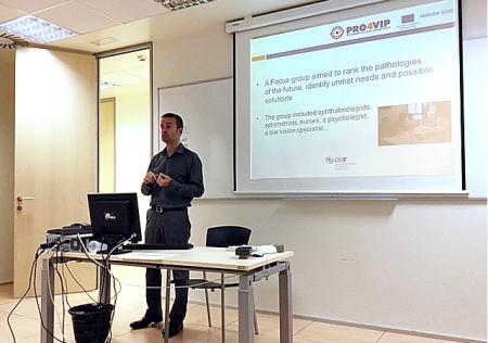 Marc Biarnés, investigador de la BMF, a l'OMC del PRO4VIP, a Barcelona
