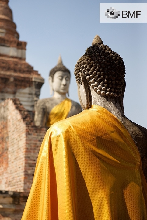 Two stone Buddhas, facing each other, dressed in golden vestments in an ancient temple. Although it is slightly out of focus, we can observe the closed eyes and the meditative posture of the Buddha that is further away.