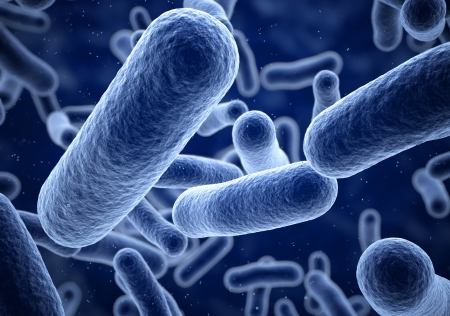 3d render Bacteria blue closeup (depth  of field)